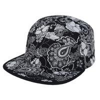 Wholesale High Quality Floral Paisley Snapback Caps Unisex Caps Hats Snap Back Black White Hip hop Baseball Cap for Men Goldtop