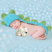 Cheap Baby Infant Dinosaur Woolen Yarn Crochet Knitting Costume Soft Adorable Clothes Photo Photography Props for 0-6 Month Newborn