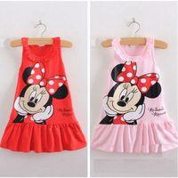 batik beach clothing - Summer kids Girls skirt Sleeveless Minnie Cartoon Pleated Dresses Kids Clothing Ruffles Collar Tank Bow Dots Dress Childs Cotton Christmas