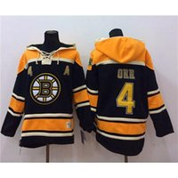 Wholesale Bruins Bobby Orr Black Hockey Hoodies Hot Sale Athletic Outdoor Apparel Cheap Team Sport Hooded Comfy Hockey Uniforms Pullover Mens Hoody
