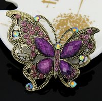 Wholesale Top grade Clear Grape Wedding Korean Brooches for women Crystal Rhinestone Butterfly Brooch Pins for party jewelry sets