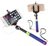 Wholesale Android Phone Camera Handheld Monopod Extendable Selfie Stick Wired mini tripods With Self portrait take cable pole For Samsung Iphone LL