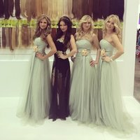 Wholesale Beautiful Strapless Bridesmaid Dresses A Line Tulle With Flower Sash Backless Fashion Prom Dress For Bridesmaid Custom Made MG06