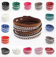 Wholesale 17 Colors New leather tennis bracelet Unisex Multilayer Leather Bracelet Christmas Gift Charm Bracelets Vintage punk Jewelry For Women