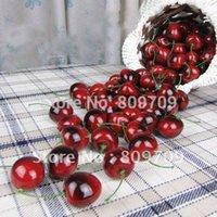 artificial fruit - 100pcs Artificial Lifelike Mini Cherry Fake Fruit Wedding Party Home Office Decoration