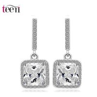 Cheap Teemi Brand Wholesale New Fashion Women Bride Wedding Square Zircon Dangle Earrings Elegant Crystal Drop Brincos White Gold Plated Jewelry