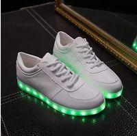 Wholesale 2016 New Arrival Men Women Led Lighter Flash Colorful Shoe White Black Fashion Led Shoe Size YL6218