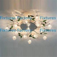 crystal - LED Ceiling Light Modern Green Leaves Light Crystal Ball Ceiling Light Aluminium Wire Ceiling Lamp Living Room Chandelier lights