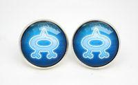aqua chandelier earrings - 10pairs Pkmn earrings Team Aqua emblem Glass photo earrings