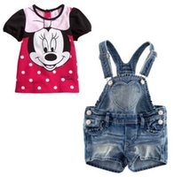 minnie mouse - Retail Fashion Cartoon Girls Minnie Mouse Summer Clothes Baby Suits Kids T Shirt Jeans Overalls Children Clothing ATZ032