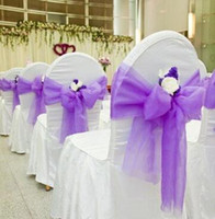 banquet tables and chairs wholesale - Colorful Wedding Party Banquet Organza Sash Bows For Chair Cover