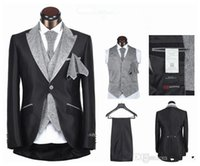 Cheap Free shipping 2014 hot sale mens suits wedding groom suit men for wedding one button five pieces black white sliver XS-4XL
