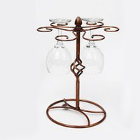 bar cup rack - Vintage Bronze Red Wine Glass Hanger Wine Glass Holder for Home Bar Elegant Wine Racks Goblet Champagne Cup Drying Rack Stand H16069