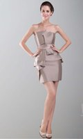 art collections - Exquisited Strapless Draped Taffeta Sheath Light Brown Sexy Cocktail Dresses Fall Collection Customzation