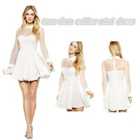 Wholesale Ladies polyester long sleeve ice skating dress summer casual white turn down collar mesh patchwork short dress SMIS004