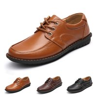 Cheap Brand New British Style Shoes Men Breathable Casual Fashion Genuine Leather Round Toe Lace-up Males Flats Shoes Size 39-44 TA0109 salebags