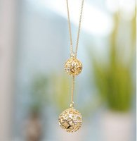 acrylic sphere - 2015 Pendant Necklaces Necklaces Multi Layer Necklace Gold Korean Factory Direct High grade Diamond Wild Hollow Double Ball Sphere Stb82