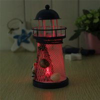 Wholesale New Arrival Mediterranean Lighthouse Iron LED Light Blue White House Decoration order lt no track