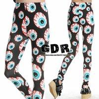 Mid ae leggings - East Knitting AE GDR big eyes eyeball punk style leggings women Brand pants Top sale Sexy Leggings pants