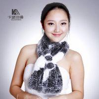 fur flower scarf - Scarf female rabbit fur autumn winter scarves with thick fur scarf with three flowers Koren Version