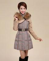Women Hooded Long 2014 Korea Grid Winter Coat Women Jacket Collar Coat Long Down Coat Hooded Parka Warm Outerwear Fashion Clothing Include Belt Free Shipping