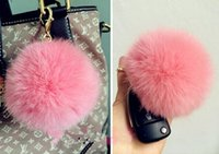 Wholesale Cute Genuine Leather Large size CM Rabbit Fur Ball K Gold Plush Key Chain For Car Key Ring Bag Pendant Car Keychain gift