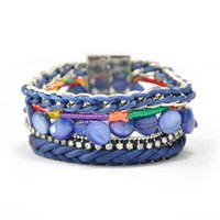 Wholesale Handmade multi layered various beads silver plated chains stretch Leather wrap bracelets