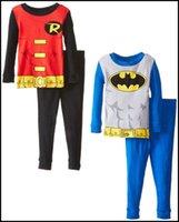 character appliques - 2015 kids superhero pajamas cartoon super hero printing shirts pants set suits superman batman ironman pyjamas J081804 DHL FREESHIP