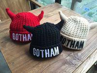 Wholesale Children s Hats Children s Beanie Hat Devil Ox Horn Knitted Winter Warm Kids Cap Children Crochet Hat Infant Costume