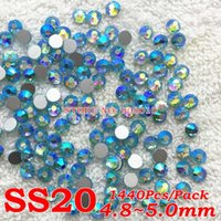 Wholesale Aquamarine AB Color SS20 mm Pack Crystal FlatBack Non Hotfix Nail Art Glass Rhinestones