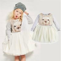 Wholesale 2015 New Spring Bunny girls dresses TUTU stripped kids clothes children clothing Printed rabbit princess dress baby clothes tcqg HX