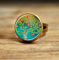 African pink flamingos - RC115 New Fashion Pink Flamingo ring Glass Picture Art Flamingo ring for women men tree