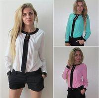 Cheap Women chiffon blouse 2015 Spring Autumn Fashion blusas Woman Top Casual Patchwork Blouses Shirts Full sleeve