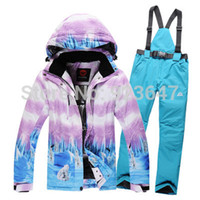 bear polar jacket - Women snowboard clothes winter cotton dress waterproof amp windproof thermal Girl skiing suit sets polar bear jackets and bib