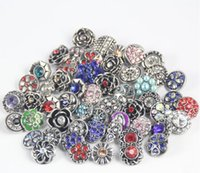 Wholesale chunks snap button jewelry Mix Many styles mm Metal Snap Button Charm Rhinestone Styles Button Ginger Snaps Jewelry qn