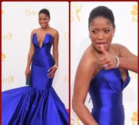 award pictures - Emmy Awards Keke Palmer Red Carpet dresses Evening Gowns Mermaid Plunging Neckline Sexy Chapel Train Satin Royal Blue Formal
