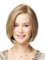 best blonde highlights - Best bob wigs Synthetic hair brown wigs blonde highlights for women lady short length straight hair Wigs side bangs false hair