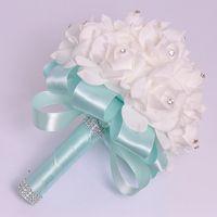 silk flowers christmas - Spring Wedding Bouquet Crystal Royal Blue Silk Ribbon New Buque De Noiva Colors Rose Artificial Bridal Flowers Bride Bouquet