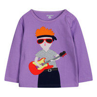 character appliques - Girl Clothes For Kids Long Sleeve Round Collar Joker Children Base Shirt Cartoon Character Applique Baby T shirt M T Fit Age K155