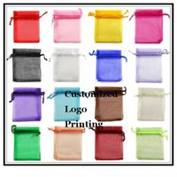 Wholesale x12cm Mixed Color Wedding Drawable Organza Voile Gift Packaging Bags Can Customized Logo Printing