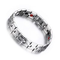 Wholesale Health Engery Care Bio in1 Magnetic Negative Ion Germanium Infrared Anti Radiation Silver L Stainless Steel Bracelet Bangle Men Fashsion