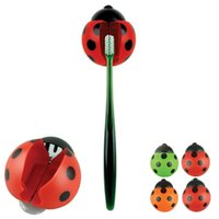 Wholesale Newly Design Bathroom Accessories Sanitary Kids Cut Cartoon Animal Sucker Ladybug Wall Mounted Toothbrush Holder Suction Cup