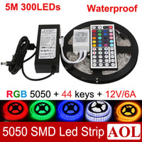 Wholesale 5050 SMD RGB m LED Strip Light leds meter Waterproof IP65 keys IR Remote Power Supply V A