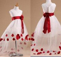 big ball gown wedding dresses - 2015 Beautiful Flower Girl Dresses Cheap V Neck Zipper Ruffles with Red Big Flower Sash High Low Tutu Princess Gowns