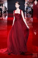 Cheap 2015 Wine Red Evening Dresses Greek Goddess Style Women Formal Party Gowns Chiffon Custom Made Court Train