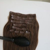 220g 10pcs / set 20 22inch Clip en extensiones del pelo humano del pelo brasileño 6 # / del color Medium Brown Remy Cabello liso teje peine libre