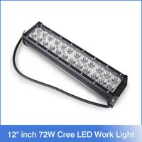 "Wholesale Cree 12 Inch 72w - 12"" inch 72W Cree LED Work Light Bar for Tractor Boat Off-Road 4WD 4x4 Truck SUV ATV Spot Flood Combo Beam 12v 24v"