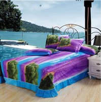 beach dry cleaning - 2015 Beautiful Purple Lavender and green Tree Print Piece Duvet Cover Bedding Sets Cotton Summer Beach Scenery Style