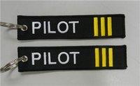 al por mayor piloto anillo-Piloto (3bars) Equipaje Llavero Anillo Piloto Cabina Tripulación Tag 13 x 2.8cm 100pcs mucho