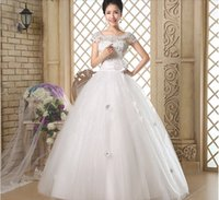Wholesale 2015 Hot Design Scoop Sheer Neck Floor Length Ball Gown Wedding Dress with Lace and Crystal Custom made